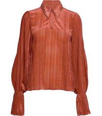 rosette blouse lange mouwen oranje dagmar