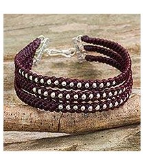 silver beaded wristband bracelet, 'maroon moons' (thailand)