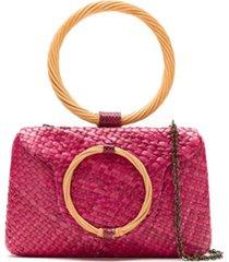 serpui bolsa clutch de palha - rosa