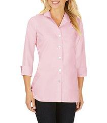 women's foxcroft pandora non-iron cotton shirt, size 16 - pink