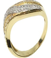 anéis kumbayá joias onda trançada dourado