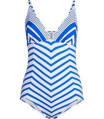 beach glass stripe one-piece swimsuit