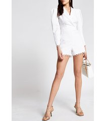 river island womens cream broderie trim tailored playsuit