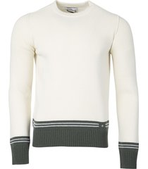 lambswool striped motif sweater