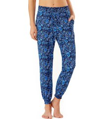 women's tommy bahama woodblock cover-up joggers, size medium - blue