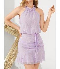 yoins halter drawstring semi transparente dobladillo con volantes mini vestido