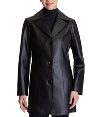 anne klein single-breasted leather coat