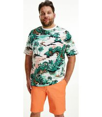 tommy hilfiger men's big and tall tropical print t-shirt green/multi - 3xl