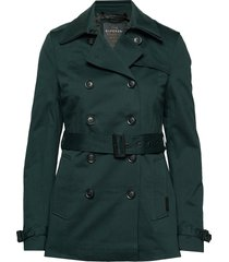 winter belle trench trenchcoat lange jas groen superdry