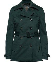 winter belle trench trenchcoat lange jas groen superdry