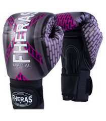 luva boxe muay thai fheras new top iron rosa 14 oz .