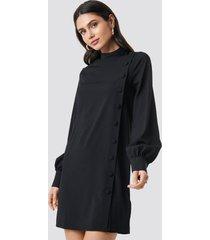 na-kd button up mini dress - black