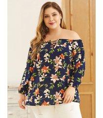 yoins blusa con hombros descubiertos y estampado floral al azar azul marino de talla grande
