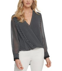 dkny striped wrap-front blouse