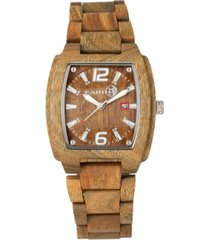 earth wood sagano wood bracelet watch w/date olive 42mm