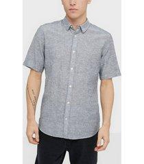 only & sons onscaiden ss linen shirt noos skjortor mörk blå