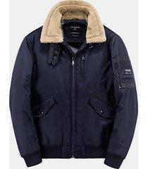 tasche alla moda lambswool collar arm chest tasche giacche spessa bomber per uomini