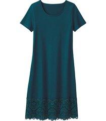 jersey jurk met kant, smaragd 40