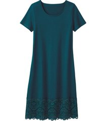 jersey jurk met kant, smaragd 44/46