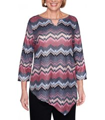 alfred dunner women's madison avenue texture chevron top