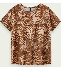scotch & soda gemerceriseerd t-shirt met print