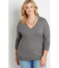 maurices plus size womens solid destructed v neck pullover gray