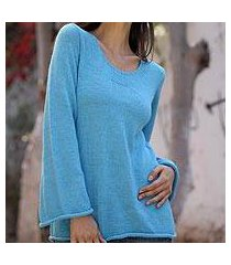 alpaca blend sweater, 'sky blue charisma' (peru)