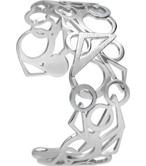 bracciale bangle in acciaio rodiato diamantato per donna