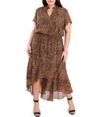plus size women's 1.state wildflower bouquet dress, size 3x - brown