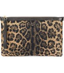 dolce & gabbana leopard print lurex pouch - black