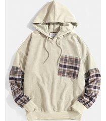 charmkpr sudadera con capucha y cordón de bolsillo en el pecho a cuadros de pana a la moda para hombre