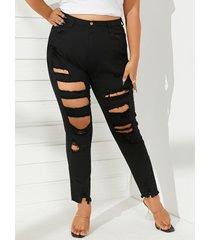 talla grande classic cinco bolsillos detalles rotos al azar jeans
