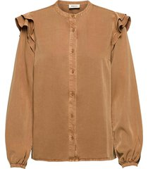 henry shirt blouse lange mouwen bruin modström