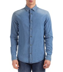 camicia uomo maniche lunghe in denim jeans slim fit