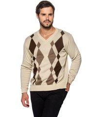 suéter officina do tricô losango bege