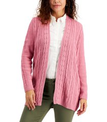 karen scott petite cable-knit open-front cardigan, created for macy's