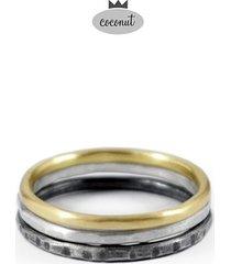 pierścionek texture - 3 obrączki srebro t6