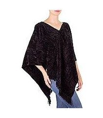 cotton blend poncho, 'magical night' (guatemala)
