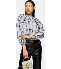 black and white check tie back ruched blouse - monochrome