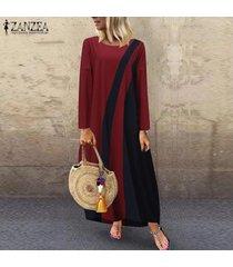 zanzea mujeres más el tamaño de bloque del color del vestido maxi largo de la llamarada del oscilación de la vendimia retro kaftan -rojo
