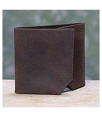 men's leather wallet, 'chestnut trifold' (india)