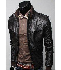 men black slim fit leather jacket with rib collar, mens slim fit jacket