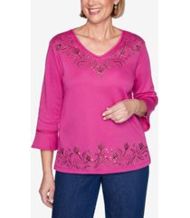 alfred dunner plus size three quarter sleeve embellished scroll yoke and border knit top