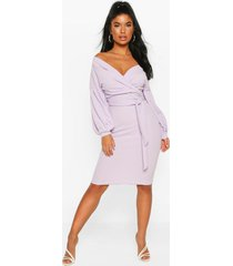 petite off the shoulder wrap midi dress, lilac