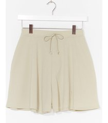 womens tie up loose ends ribbed high-waisted shorts - sage