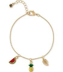 rachel rachel roy gold-tone pave pineapple charm bracelet