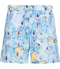 orlebar brown bulldog parrot print swim shorts - blue