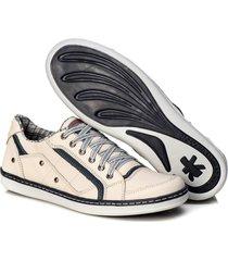 sapatenis couro tchwm shoes masculino palmilha gel conforto branco
