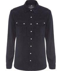 camisa feminina liocel bolsos - preto