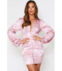 floral satin button front plunge dress, rose pink